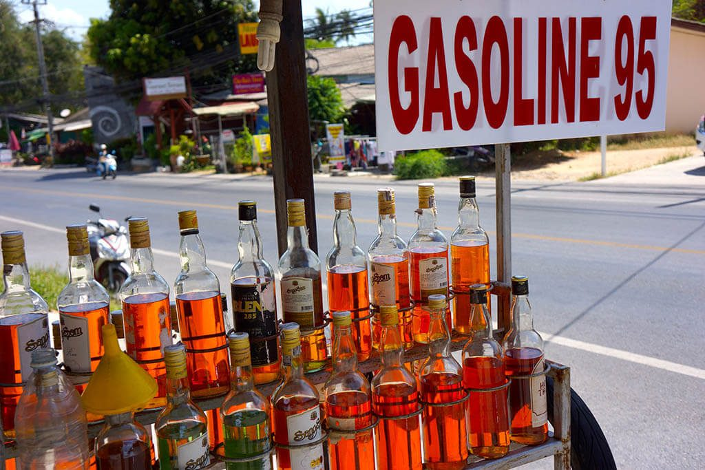 Gasoline In Whisky Bottles