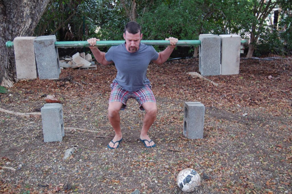 Weight Lifting with cement blocks